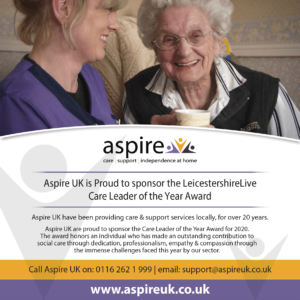 Aspire Sponsor Leicestershire Live - Care Professional of the Year Award 2020